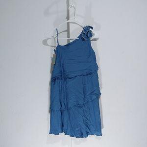 Chloe bow shoulder ruffle blue dress girl Size 12